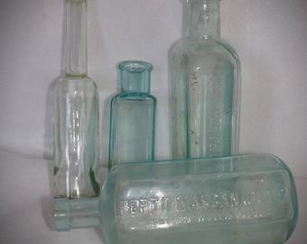 Antique Aqua Medicine Bottles . Old Pharmacy Bottles . Dr. Greens Medicine Bottle . Boston and New York Bottles. 1890s Bottles.