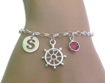 Personalized Helm Bracelet, Birthstone Bracelet, Initial Bracelet, Sterling Silver Bracelet, Jewelry, Gift for Her