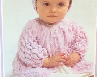 "UK/EU SELLER Vintage pdf knitting pattern baby girl diamond pattern knitted yoke matinee jacket & hat set 3 ply Fits Chest 16-20""(41-51cms)"