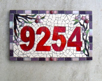 Mosaic House Number, House Sign, Street Address, mosaic Plaque, Yard Sign, Outdoor Sign, Bespoke, Custom, Nameplate, Door, pink, purple