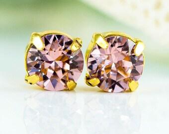 Blush Pink Studs Solitaire Earrings Pastel Pink Earrings Small Crystal Studs Gold Earrings Flower Girl Earrings Swarovski Crystal BP35S