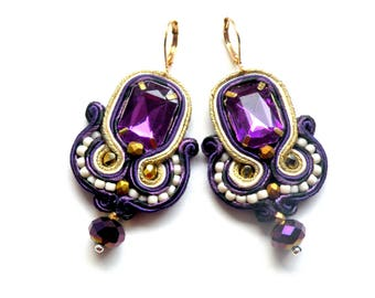 Soutache Earrings, Handmade Earrings, Hand Embroidered, Soutache Jewelry, Handmade from Poland, OOAK-Ultra Violet