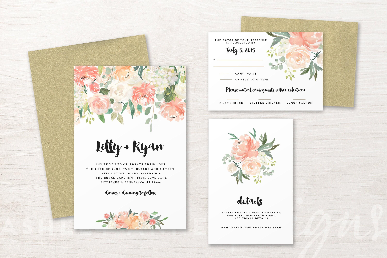 Floral Wedding Invitation, Wedding Invitation Set, Wedding ...