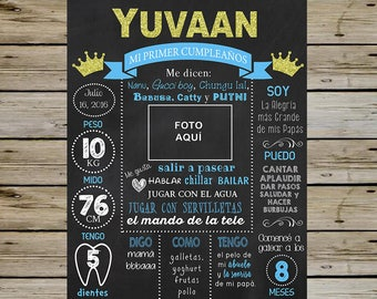 Spanish King Crown 1st Birthday Chalkboard - KING Customized CHALKBOARD - 1st Birthday Chalkboard Poster - With Picture - Digital