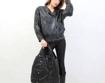 SALE Vintage 80s D'Angele Black Leather Jacket Size 36