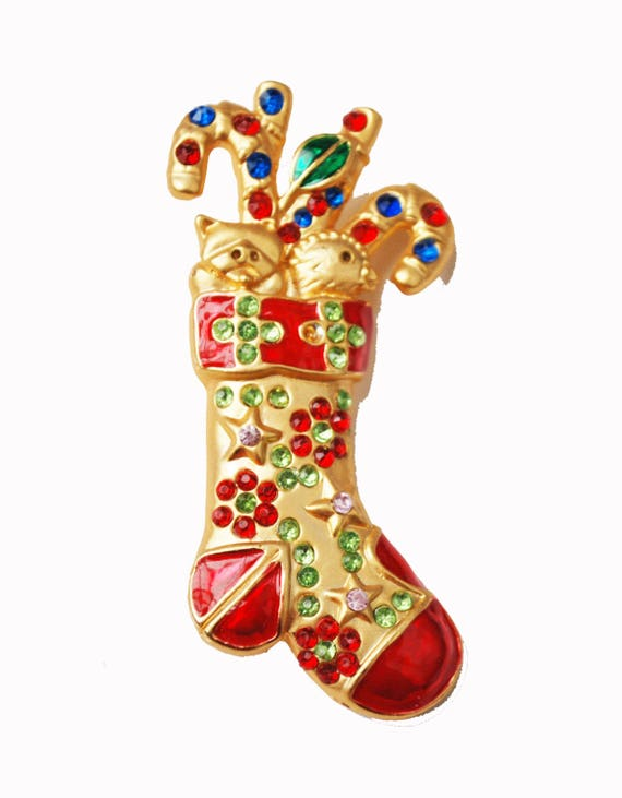 Christmas Stocking Brooch - gold Red enamel   - rhinestone  Holiday pin