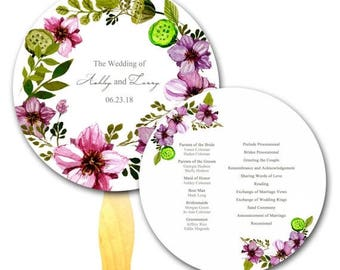Summer Sale Floral Wreath Circle Wedding Ceremony Program Hand Fan- Formal Wedding Flowers, Wood Crafty Stick , Chic Wedding,  Auction Style