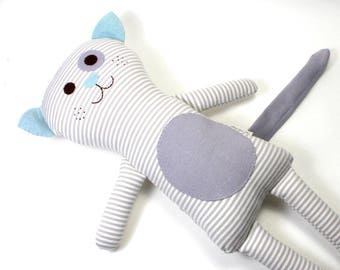Organic Plush Toy Cat -- Poppy the Cat -- Organic Soft Stuffed Plush Cat -- White and Grey Striped Toy Cat-- Plushie --Organic Toy