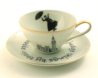 Nanny Gift, Mary Poppins, Quote, Tea Coffee Cup, Vintage Porcelain Cup 70's, Musical Movie, Altered Art, Big Ben, London England, Music Art