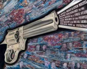 Gun, 2nd Amendment Art Print by Jamie Rice, Home decor, political wall art