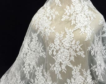 Corded Lace, Lace Applique, Applique Fabric, Corded Fabric, Embroidered Tulle, Embroidery, Off White Lace Applique