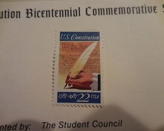 Vintage 1787 - 1987 Constitution Bicentennial Commemorative stamp