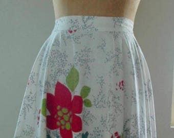 "Vintage Lee Mar of California Full Circle Skirt - ""Crimson Flowers with Rhinestones"""