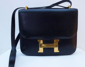 Hermes mini constance in black leather box good condition