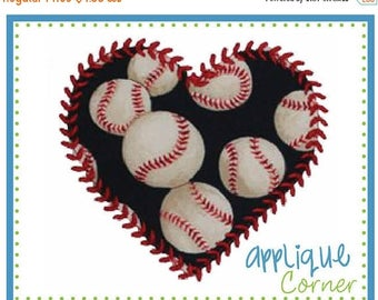 40% OFF INSTANT DOWNLOAD Baseball Softball Heart applique design in digital format for embroidery machine by Applique Corner