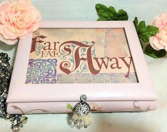 Fairy Tale Jewelry Box, Musical Jewelry Storage Box, Girl's Jewelry Box, Pink Music Box, Girl's Pink Keepsake Box, Girl's Jewelry Organizer