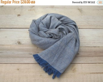 SALE Blue linen scarf with wool, scarf with knot fringe, linen scarves, scarf linen, linen shawl, pure linen scarf, women scarf, men scarf