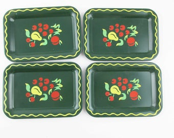 Fun Loden Green Tip Trays - Stencil-Look - Vintage - Farmhouse Chic - Small Trays - Bistro or Cafe Tip Trays - Change Trays