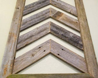 Large Reclaimed Chevron Wood Wall Art  Barn Wood Home Decor  Farmhouse  Look  Handcrafted