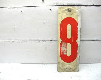 Vintage 13 Inch Gas Station Sign / Metal Sign / Number eight Sign / Price Sign / Embossed Sign / Number 8 / Advertising Sign