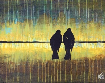 Two Birds On A Wire Original Painting by Artist Rafi Perez Mixed Medium on Canvas