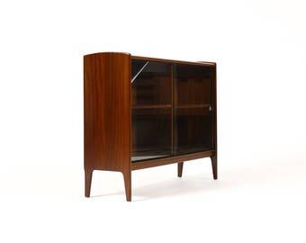 Danish Modern / Mid Century Mahogany Bookcase / Display — Sliding Glass doors — Younger
