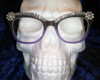 Crystal eyes vintage Spec-Trims inspired clip on eyeglasses brow trim