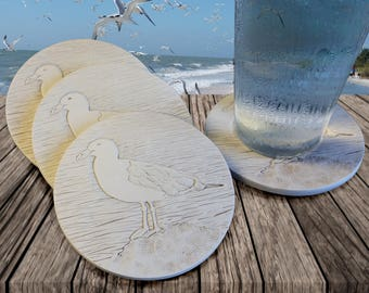 Seagull Drink Coasters,  AbsorbentCoasters, Beach House, Barware