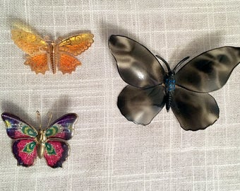 3 Butterfly Brooches/Butterfly Scarf Pins/Set of 3 Brooches/ Butterfly Pins/Enameled and Filigree Butterflies/AVON Butterfly Brooch