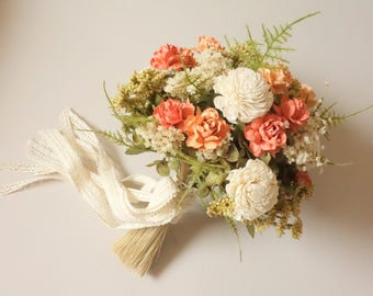 Coral Wedding Bouquet. Peach Bridal Bouquet, Dried Flower Bouquet, Vintage Wedding, Silk Wedding Bouquet, Boho Wedding, Coral Bouquet