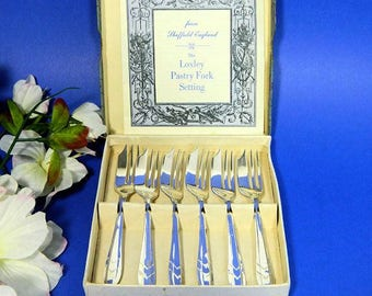 Boxed Set of Six English Silverplated Pastry Forks Sheffield