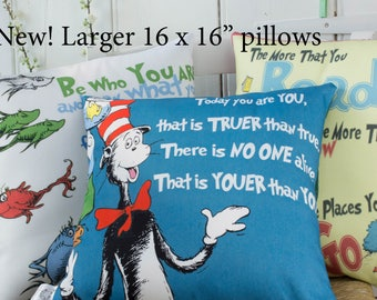 Dr Seuss Pillow Covers Dr seuss quote cushion covers Set of 3 Cat in the Hat Quote pillows for Childrens playroom or  Nursery decor