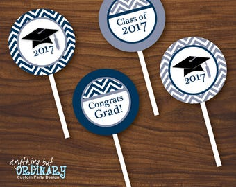 Printable 2017 Graduation Cupcake Toppers, Navy and White Chevron Grad Party Circles, Favor Tags, INSTANT DOWNLOAD digital file