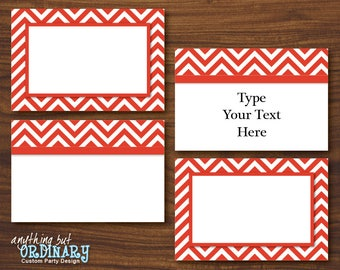 Editable Red and White Chevron Tent Cards, Printable Folded Buffet Cards, Food Labels, INSTANT DOWNLOAD, digital file