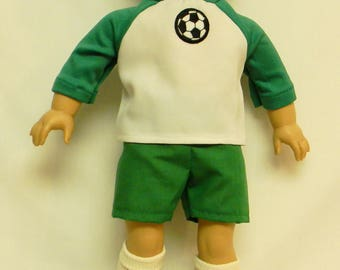Soccer Outfit With Shoes, Socks & Ball For 18 Inch Doll Like The American Girl