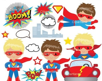 ON SALE INSTANT Download.  Superhero boy clip art. Csuper_17_Superhero. Personal and commercial use.