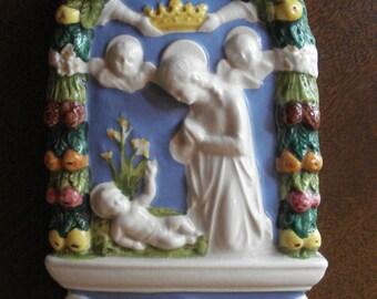Della Robbia Ceramic Madonna And Child Arched Plaque