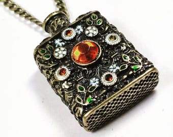 Vintage Flask Necklace, Bejeweled Bronze, Estate Collection From NorthCoastCottage Jewelry Design & Vintage Treasures
