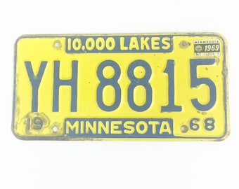 Vintage MN License Plate,Distressed Plate,Yellow and Blue Plate, Minnesota Decor,Man Cave Decor,Rustic Home Decor,Car Guy Gift,License Tag