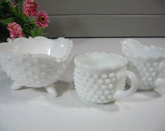 Hobnail Creamer and Sugar Set, Milk Glass, Coffee Tea Server, 3 Pieces,  Farmhouse Kitchen, Country, Cottage