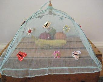 vintage food umbrella - food protector - tent food cover - mesh food protector - picnic food saver - bbq food saver - outdoor dining