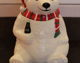 Vintage Coca Cola Polar Bear Cookie Jar 1996