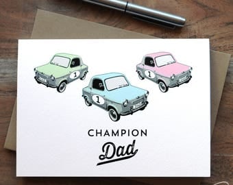 Champion Dad Card with rally cars - Father's Day