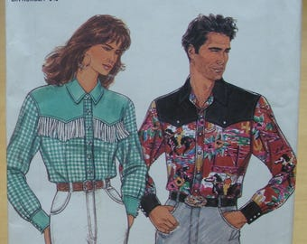 Free shipping! Simplicity 8262 Mens or womens classic western shirt sewing pattern. All sizes. UNCUT