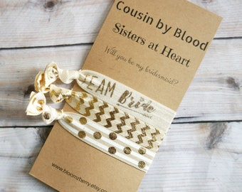 Wedding Gift Ideas For Cousin Brother : Ivory/Gold Bridesmaid Gift 3 pcs gift setCousins by Blood, Sisters ...