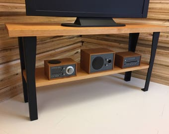 Hudson TV console featuring vertical grain fir with steel legs. Entertainment console, tv stand.