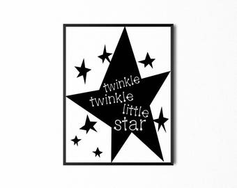 Twinkle Twinkle Little Star, Art Quote, Baby Nursery Wall Art Print, Digital Print, Art for Kids