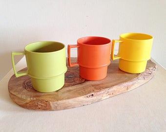 Vintage Tupperware Stackable Mugs Set of 3