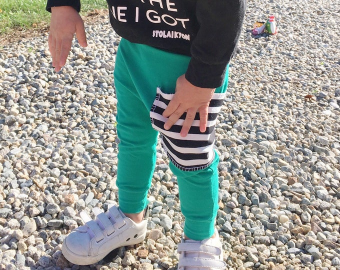 Featured listing image: Hipster Baby Pants   Baby Harem Pants   Baby Harems   Leggings   Baby Boy Pants   Baby Pants   Joggers   Emerald + Stripe Pocket Pants