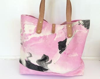 Marble Canvas Bag by Willful | Carry All, Beach Bag, Essential, Market Bag, Black, White, Pink, Leather Handles
